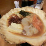 酒遊海峡 善 - 貝焼き(焼く前)