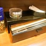 中華蕎麦 葛 - 箸は「竹割り箸」と「プラスチック箸」がある