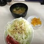 51179365 - 付属のサラダ・味噌汁・漬物