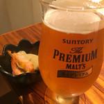 Wa.Bi.Sai 花ごころ - 生ビール、お通し