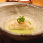 天ぷら 元吉 - 金目鯛の天ぷら、空豆のソース