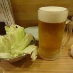 串屋横丁 - お通し:194円、生ビール:513円