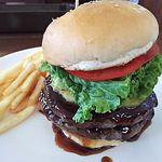 レインボーグリル - 料理写真:ダブルバーガー(テリヤキソース&パイナップル) ポテト&ドリンクセット 1800円