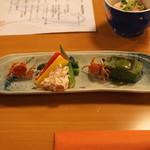 ひだまり - 前菜 (よもぎ麩田楽、鰹の酒盗チーズ 夏野菜添え、高知産沢蟹の唐揚げ)