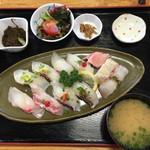 江口蓬莱館 - 真鯛にぎり定食 1530円