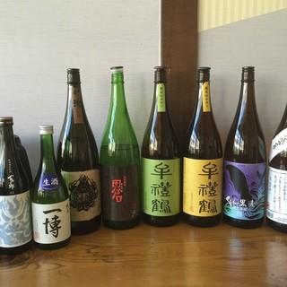 お食事に合うお酒ももあります!月替わりの日本酒&焼酎