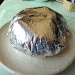 5124744 - 阿寒産鹿肉の噴火ハンバーグはアルミホイルの孔から噴火しているとのこと