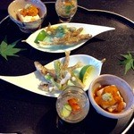 和彩膳所 楽味 - 料理写真:稚鮎山菜香味揚げ、湯葉、ジュンサイ