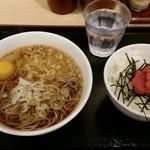 51260263 - たぬきそば(+生卵)、明太ごはんの朝食セット380円+70円。