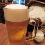 ひかり屋 - まずはみんなでかんぱ~い! ボキはビール、ちびつぬはウーロン茶だよ。