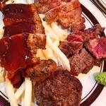 American Diner A Sign - お肉の盛り合わせ(伊江牛ステーキ80g・石垣牛ハンバーグ100g・県産豚ステーキ80g・スペアリブ(ハーフサイズ)