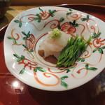 酒斎 伊とう - 造里:真子鰈 胡麻タレとコシアブラ1
