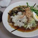 文殊 - 冷し山菜おろしそばと鮭おにぎり