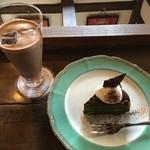 51302267 - ケーキセット 抹茶サターンケーキ・チョコレートドリンク(ダーク) 1188円(税込)