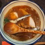 烈志笑魚油 麺香房 三く - お昼の三くセット♪のかけラーメン