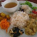 トリトリノキ - ごはんプレート(玄米、鶏肉のココナッツ煮、キッシュなど)