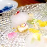 ステーキ懐石都 春日 - タイラギのグリルとレモンの泡 '16 4月上旬