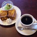 ボン珈琲店 - ブレンドコーヒー(380円)、モーニング(フレンチトースト)