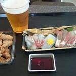 福良マルシェ - 生ビール、お刺身、ハマチの唐揚げ~♪自作ちょい飲みセット