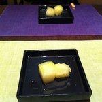 遊心食 風童 - 煮冬瓜のあんかけ 皮に入った包丁切りが細かくて柔らかい