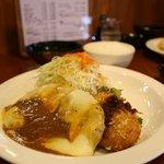 お多福食堂 - カレーチーズのせハンバーグ定食