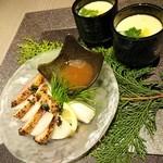 51381521 - 名古屋コーチン茶碗蒸し、燻製紅茶鴨と大根の梅風味
