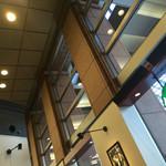 51412628 - 2016/05 店内は、そんなに広くないけど、天井が高い割には落ち着いた雰囲気なのだー。おひとり様用ソファー席窓際や壁(柱?)にそったカウンター席など、おひとり様重視になっている