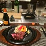 キャラバン ステーキ専門店 - 結婚祝いで唐津産サイダーと、美味しいシャンパンサービス頂きました☆