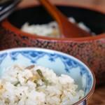 繁の家 - 筍を中心にした、山菜炊き込みご飯がおひつでいただけます(2016.5.26)