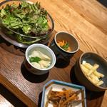 51466199 - 小鉢5種:グリーンサラダ・カブとアスパラ・きんぴら・ニンジンのツナ和え・マカロニサラダ