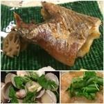 51471476 - 太刀魚の焼き物、新タマネギとつくねのみぞれ煮、小ハマグリの酒蒸し
