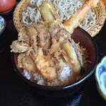 手打ちそば・梁 - ミニ天丼(舞茸、海老、茄子)