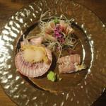 旬鮮彩鮨 豊のはなれ - 料理写真:カマス・子持ちシャコ・桧扇貝