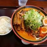 節系とんこつらぁ麺 おもと - トマト担々麺:大盛り+メンマ+ネギ増し+煮玉子