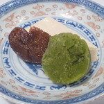 日本料理 宮本 - 豆乳のクリームチーズ寄せと濃茶のシャーベット