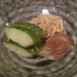 日本料理 宮本 - 香の物 (はぐら瓜、切り干し大根、茗荷)