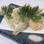日本料理 宮本 - 料理写真:鱧 (はも)のすり身と山独活の葉の天婦羅