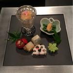 51532606 - 枝豆のカステラ 鮎の押し寿司 など