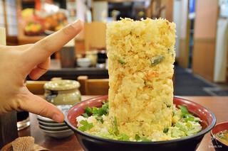 魚河岸 丸天 魚河岸店 - 海鮮かき揚げ丼(あら汁付)¥1,100(税抜)