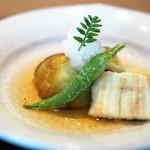 Shimogamosaryouhigashinohanare - 賀茂茄子の煮おろし 穴子白焼き
