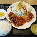 外山食堂 - ハーフ&ハーフ(トンテキ&メンチカ)