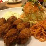 くま食堂 - かきフライ定食