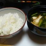 広瀬館 - 朝食:御飯 味噌汁
