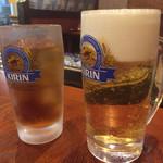 手羽先の武蔵 - 生ビール510円とウーロン茶200円