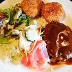 レストランぽてと - ○ハンバーグとカニクリームコロッケの選べるセット 珈琲付き 1,150円