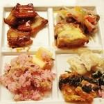 Koji - 豚バラ肉の蒲焼仕立て・コールドビーフのサラダ仕立て・若鶏のチーズカツレツ・カラスカレイの白ワイン蒸し 湯葉豆乳クリームソース・とろろ芋焼・竹の子と柴漬け シラスのピラフ!!ヾ(≧▽≦)ノ