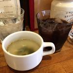 ポパイ - スープ、セットドリンクのアイスコーヒー
