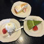 レストランぽてと - ケーキ3種。レモンの…抹茶の…