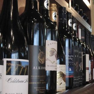 揃えられたこだわりのワイン約60種は全てがオーストラリア産