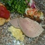51631780 - タルタル風卵と紫玉葱のサラダ、茸のフリッタータに濃縮トマトソースが合う!